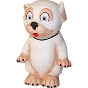 "3 1/8"" Hertwig Bisque Bonzo Comic Dog Figure from Factory Sample Card"