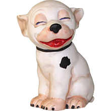 "3 1/8"" Hertwig Bisque Bonzo Comic Dog Figure from Factory Sample Card ~ Happy Fellow!"