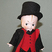"""4 7/8"""" Googly Boy """"Germany 3"""" ~ Jointed All Bisque Doll in Top Hat and Suit"""