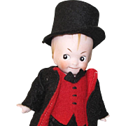 "4 7/8"" Googly Boy ""Germany 3"" ~ Jointed All Bisque Doll in Top Hat and Suit"