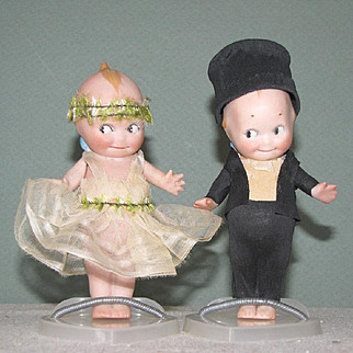 "4 1/2"" Kewpie Bride and Groom ~ Original Silk & Crepe Paper Costumes"
