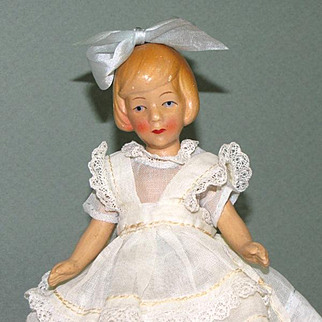 "7"" Hertwig Flapper Girl Ptd. Bisque or Biscaloid"