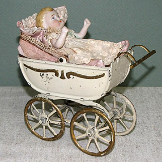 "Tin Carriage with 4 1/4"" Early Kestner All Bisque Baby"