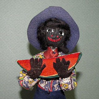 "7 3/4"" Loveleigh Novelty ""Watermelon Boy"" ~  Black Folk Art Doll"