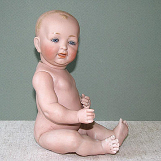 "10 1/2"" Kestner All Bisque Baby ~ Glass Eyes & Swivel Neck"