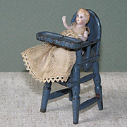 """2"""" Baby in High Chair for Dollhouse or All Bisque Mama"""