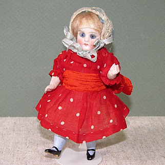 "5 1/4"" All Bisque Dollhouse Doll ~ Great Original Clothes!"