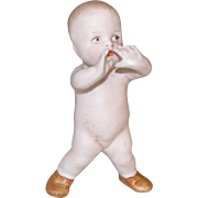 """4"""" Heubach Position Baby ~ All Bisque Doll ~ Shouting"""