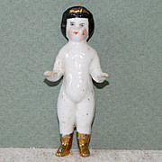 """2 5/8"""" Frozen Charlotte with Gold Coronet & Boots"""