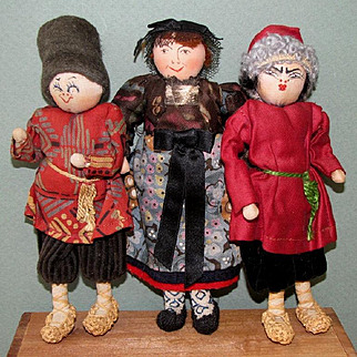 "3 Cloth Russian Character Dolls ~ 6 1/2"" and Great Condition!"