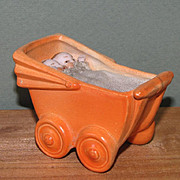 """3"""" Hertwig Buggy with Twin Babies ~ 'Germany  0135' ~ Very Rare!"""