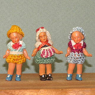 "3 Hertwigs - 1 3/4"" ~ MINI All Bisque Dolls"