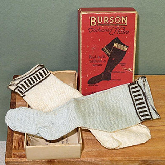 2 Pairs Burson Stockings for French Fashion or Lady Doll ~ Lt. Blue & Cream