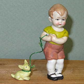 """3"""" Hertwig Boy with Dog on """"Leash"""" ~ Darling All Bisque Doll!"""