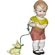 "3"" Hertwig Boy with Dog on ""Leash"" ~ Darling All Bisque Doll!"