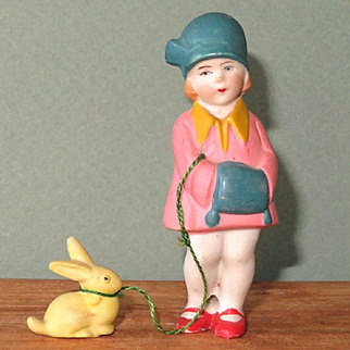 """3"""" Hertwig Girl with Pet Bunny on Leash ~ Great condition!"""