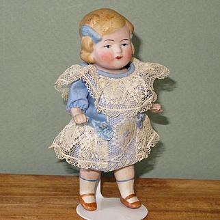 "Cute 5"" Limbach All bisque Doll ~ Super dress!  Dollhouse type."