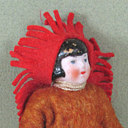 "3 1/4"" Hertwig All Bisque INDIAN Chief  ~ Dollhouse Doll"