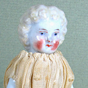 "4 1/4"" Antique Blond Frozen Charlotte with VERY Rosy Cheeks!"