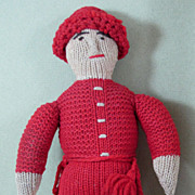 "9 3/4"" Knitted Doll ~ American Boy ~ 1880s Hand Made Folk Doll"