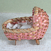 """2"""" Tiny All Bisque German Baby in Pink Bassinet/Cradle"""