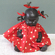 "5 1/4"" Black All Bisque Baby in Red Polka Dot Dress ~ MIJ"