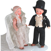 "3 3/4"" Pair Hertwig Painted Bisque Bride and Groom ~ All Original"