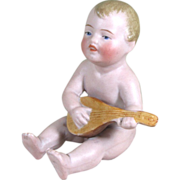 """Adorable 3"""" All Bisque Baby Doll / Figurine Playing Mandolin"""
