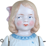 """Lovely 7"""" Hertwig All Bisque Girl with Molded Clothes ~ Antique Doll"""