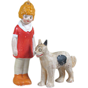 "3 1/2"" Comic Nodder ORPHAN ANNIE & her Dog Sandy ~ German All Bisque"