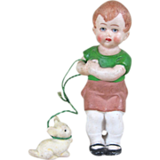 "Cute Little 3"" Hertwig Boy with 1"" Puppy on Green ""Leash"" ~ Marked 'Germany'"