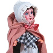 "8"" German Painted Bisque Head on 5 Piece Compo body 'Little Pink Riding Hood'"