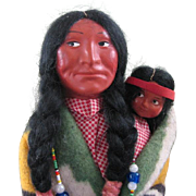 "13"" & 6 1/2"" SKOOKUM Indian Dolls + 4 Wood Plaques"