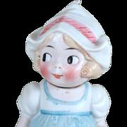"""4 3/4"""" All Bisque German Nodder Dutch Girl with Googly Eyes"""