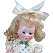"""Charming 6"""" 'Girl with Downward Gaze' Amberg All Bisque Doll"""