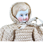 "5 1/2"" Barefoot Old White All Bisque Doll"