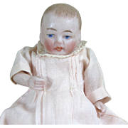 """3"""" Tiny Kestner All Bisque Baby in Lovely Pale Peach Fine Cotton"""