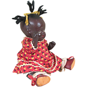 """Fabulous 6 1/2"""" Black All Bisque Baby in Wonderful Outfit ~ MIJ"""