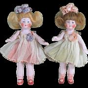 "3 1/4"" Pair Hertwig Dollhouse Dolls ~ All Original!  Pair # 3"