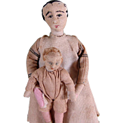 """Charming 3 1/4"""" & 6"""" Antique Cloth Dollhouse Dolls ~ Needlesculpted"""