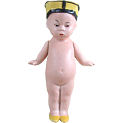 """4 1/4"""" Gbr. Heubach CHIN CHIN BABY All Bisque Doll ~ Unusual Hat!"""