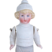 """Lovely 5 3/4"""" Early Hertwig Boy with Molded Winter Clothes"""