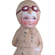 "4 1/4"" Unmarked All Bisque Doll WW I Aviator or Aviatrix Character Doll"
