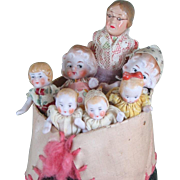 """""""Old Woman in Shoe"""" with 6 All Bisque Hertwig Children"""