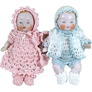 "Precious Pair 2 1/2"" CANDY BABIES in Crochet Outfits ~ Boy & Girl All Bisque Dolls"