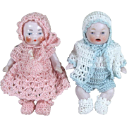 """Precious Pair 2 1/2"""" CANDY BABIES in Crochet Outfits ~ Boy & Girl All Bisque Dolls"""