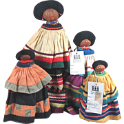 "4 SEMINOLE Indian Doll s ~ 6 1/4"", 7 1/4"", 8 1/2"" & 11 1/2"""