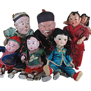 """Group of 6 Old Chinese Doll s - 5 1/2"""" to 9 1/2"""" - Red Tag Sale Item"""