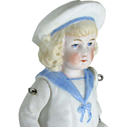 "5 1/2"" Hertwig Boy in Molded Sailor Suit ~ All Bisque Jointed Doll"