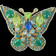 Vintage Juliana D&E Butterfly Brooch Faux Jade Blue